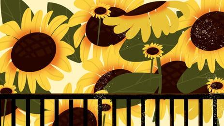 向日葵柵欄背景素材, 花海, 向日葵, 葵花 背景圖片