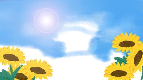 陽光美麗向日葵廣告背景, 廣告背景, 藍天, 植物 背景圖片