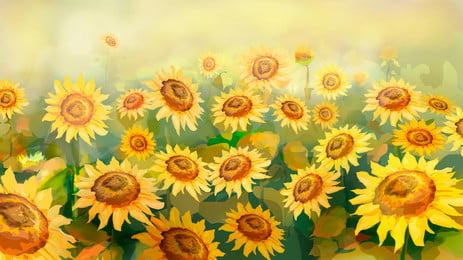 陽光美麗向日葵廣告背景, 廣告背景, 清新, 手繪 背景圖片
