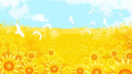 Sunshine Sunflower Flower Sea Advertising Background Background,fresh,plant,sunflower,sunlight,lattice,blue Sky,cloud, Sunshine Sunflower Flower Sea Advertising Background, Background, Fresh, Background image