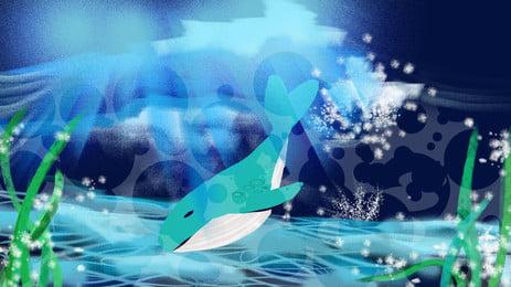 水泳クジラの緑の植物の漫画の背景の深海, 深海, 水泳, クジラ 背景画像