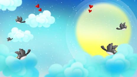 Tanabata ngày valentine starry love magpie chất liệu nền Bầu Trời đầy Hình Nền