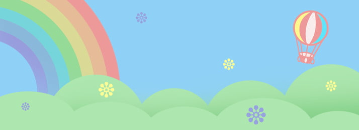 travel hot air balloon rainbow blue sky green grass bright minimalistic background, Tourism, Hot Air Balloon, Rainbow Background image