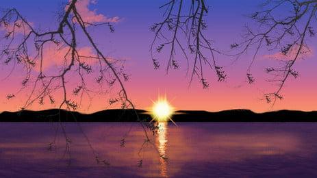 twilight tasik matahari terbenam indah reka bentuk latar belakang ilustrasi, Cantik, Tangan Ditarik, Tasik imej latar belakang