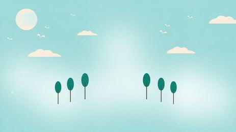 작은 나무 푸른 하늘 흰 구름 녹색 배경의 두 행, 두 행, 작은 나무, 푸른 하늘 배경 이미지