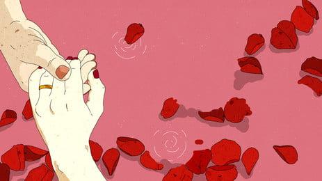 Ngày lễ tình nhân Ngày lễ tình nhân siết chặt tay và cánh hoa hồng Tanabata Ngày lễ tình Tay Nền Nền Hình Nền