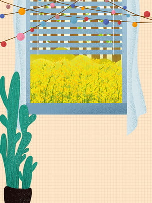 Warm home cactus potted window rapeseed background material , Bunting, Decoration, Cactus Background image