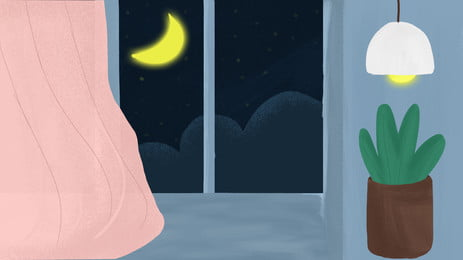 Warm Window Moonlight Advertising Background Background,moonlight,chandelier,potted Plant,pink Curtain,window,home,moon, Warm Window Moonlight Advertising Background, Background, Moonlight, Background image
