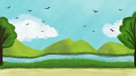 Акварель свежее место летний фестиваль лес далеко гора баннер фон акварельный Красочное облако Фоновое изображение