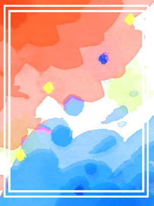 watercolor gouache fresh red blue poster background , Watercolor, Gouache, Red And Blue Background image