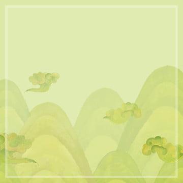 वाटर कलर हाथ से चित्रण शांत रेट्रो ड्यूना शैली हरे बादल पहाड़ , पहाड़, बादल, गर्मी पृष्ठभूमि छवि