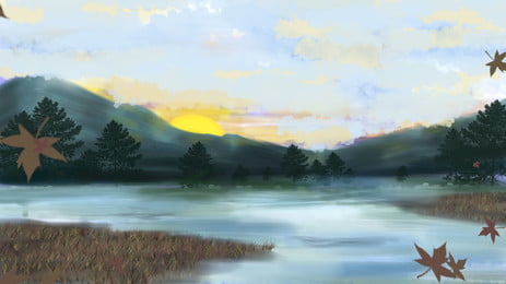水彩風景日の出もみじ葉落ちる背景 水彩画 景観 日の出 背景画像
