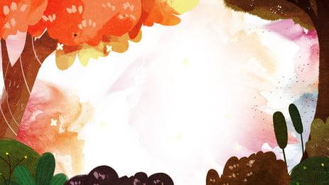 Illustration de fond minimaliste aquarelle bois peints Peinture à laquarelle Dessin Fond Contexte Bannière Image De Fond