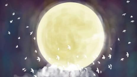 Aquarelle matériau de fond étoilé de lune Aquarelle ciel étoilé Aquarelle Peint Fond De Fond PSD Image De Fond