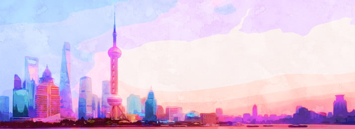 watercolor style beautiful color dreamy shanghai background, Hand Drawn Style, Watercolor, Color Background image