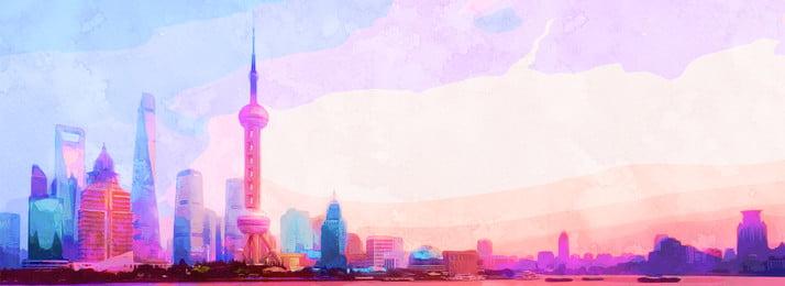 warna air cantik yang memukau latar belakang shanghai, Gaya Ditarik Tangan, Cat Air, Warna imej latar belakang