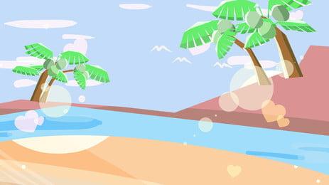màu nước mùa hè coco bãi nền vật liệu, Cây Dừa, Bãi Biển Mùa Hè, Đại Dương Ảnh nền