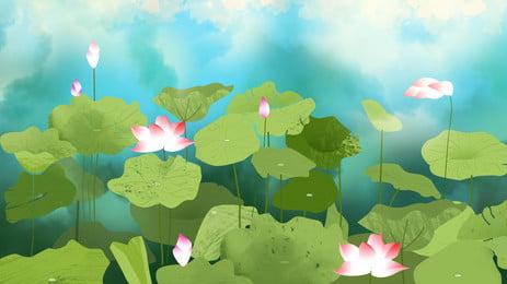 Màu nước lễ hội mùa hè vật liệu nền ao sen Ao Sen Ao Hình Nền
