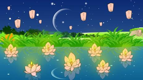 Акварельный ветер в Фестивале Юань Lotus Light Star Справочный материал Звездное небо Лотос Лампа Ручная Лампа Ручная фон Фоновое изображение