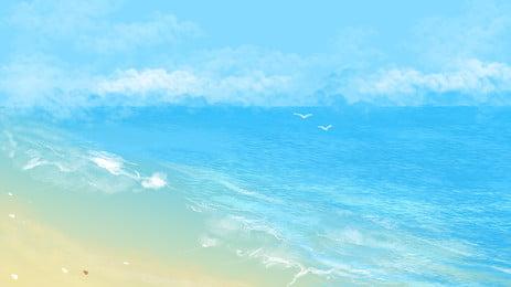 結婚式のシーンのビーチの新鮮な背景イラスト, 新鮮な背景, 結婚式, ビーチ 背景画像