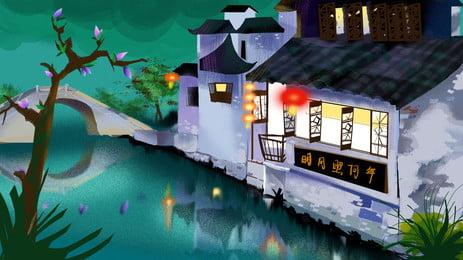weimei jiangnan water town bandar purba pemandangan latar belakang, Pemandangan, Refleksi, Bangunan imej latar belakang
