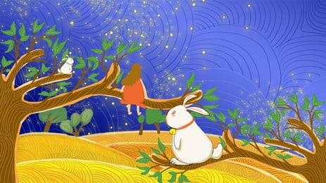 White Bunny And Girl Blue Cartoon Background Sitting On The Branch, White, Bunny, Branch, Background image
