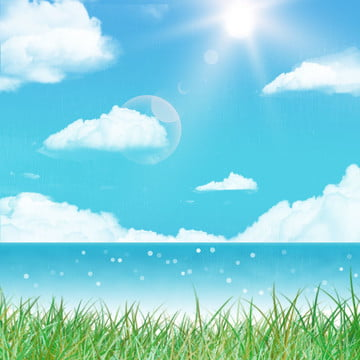 white clouds blue sky seaside background material , Grass, Hand Painted, Cartoon Background image