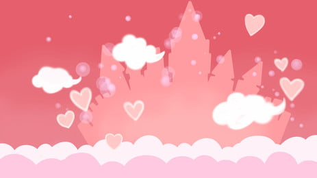 awan putih mengalir merah latar belakang jambu, Awan Putih, Fluttering, Hati Merah imej latar belakang