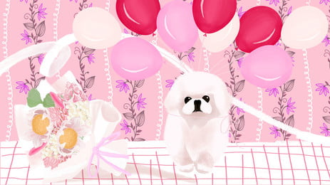 white pet dog bouquet pink balloon cartoon background, White, Pet Dog, Bouquet Background image