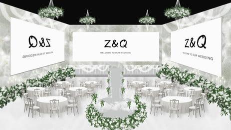 Белый комплект свадебных сидений цветы зеленые листья декоративный мультфильм фон белый декорации свадьба Фоновое изображение