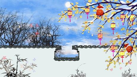 Bức tường hoạt hình nền trắng Trắng Tường gạch Cây hoa Đèn Hình Bối Hoạt Hình Nền