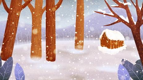 冬天清新雪地枯木背景設計, 清新, 冬季背景, 冬天背景 背景圖片