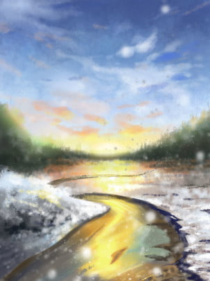 冬季河流雪花夕陽背景 , 冬季背景, 河流, 雪花 背景圖片