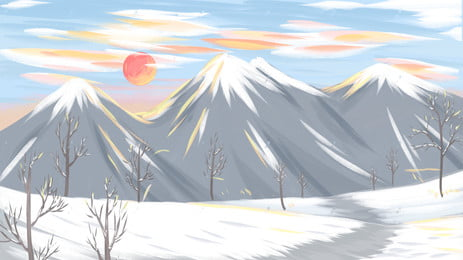 winter snow mountain sunset background material, Sunset, Blue Sky, Painted Background image