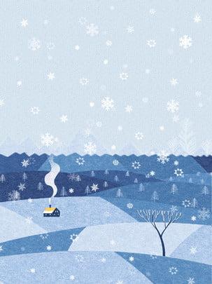 冬の暖かいスノーフレークの背景 , 冬, 家, 煙突 背景画像