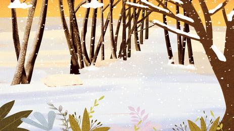 冬季樹林雪地背景設計素材, 冬季背景, 冬天背景, 卡通手繪 背景圖片