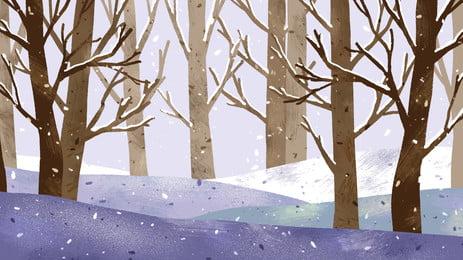 冬季樹林雪景背景素材, 下雪, 雪花, 樹林 背景圖片