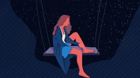 夜のブランコに座っている女性漫画背景, 夜, 座っている, スイング 背景画像