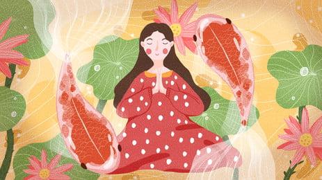 カラフルな漫画の背景を求めて地面に座っている赤いドレスの女, 地面に座って, 仏様, 赤 背景画像