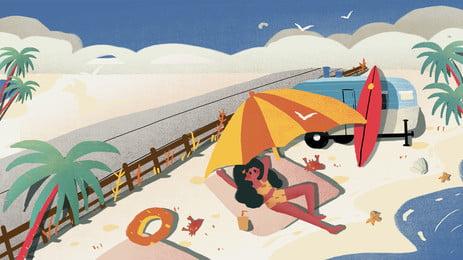 bãi biển nghỉ ngơi của nền hoạt hình tươi mát nhỏ phụ nữ hải dương, Nghỉ Ngơi, Hoạt Hình, Phụ Nữ Ảnh nền