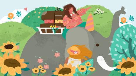 象と荷物のモザイク漫画の背景に座っている女性, 座っている, 象, 女 背景画像