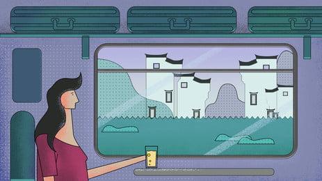 बस में बैठी महिला ड्रिंक पी रही थी और खिड़की के बाहर का नज़ारा, शनि, कोच, एक पेय पृष्ठभूमि छवि