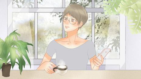 ウィンドウの背景にコーヒーを飲みながらテーブルに座ってメガネを掛けた女性, 座っている, テーブルで, コーヒーを飲む 背景画像