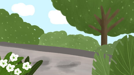 Woods Path Illustration Background Design Road,cartoon Background,creative Banner,background, Image, Fresh, Background, Background image
