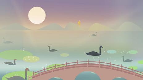 xiaoiao lake duckling lotus mountain, Cầu Nhỏ, Nước Hồ, Vịt Con Ảnh nền