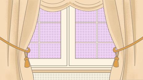 पीला पर्दा बैंगनी खिड़की आंतरिक पृष्ठभूमि, पीला, परदा, बैंगनी पृष्ठभूमि छवि
