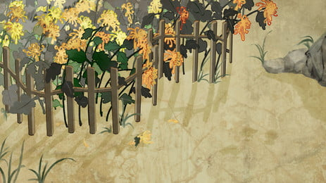 黃色向日葵籬笆卡通背景, 黃色, 向日葵, 籬笆 背景圖片