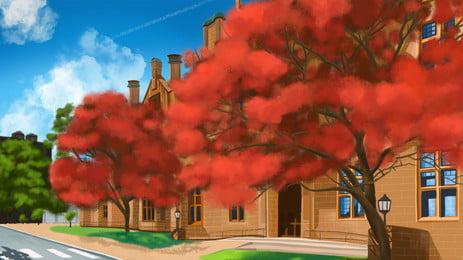 पीला लंबा इमारत सड़क लाल फूल पेड़ कार्टून पृष्ठभूमि, पीला, ऊंची इमारत, सड़क पृष्ठभूमि छवि