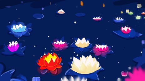 zhongyuan महोत्सव रंगीन कमल के पत्ते पृष्ठभूमि सामग्री, मध्य शरद ऋतु समारोह पृष्ठभूमि, भूत उत्सव की पृष्ठभूमि, कमल का पत्ता दीपक पृष्ठभूमि छवि