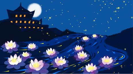 Фестиваль Lotus Light в фоновом режиме Чжунюань под нарисованным звездным небом Звездное небо красивый Лотос Лампа океан покрашенный Праздник фон Рекламный фон Фоновое изображение